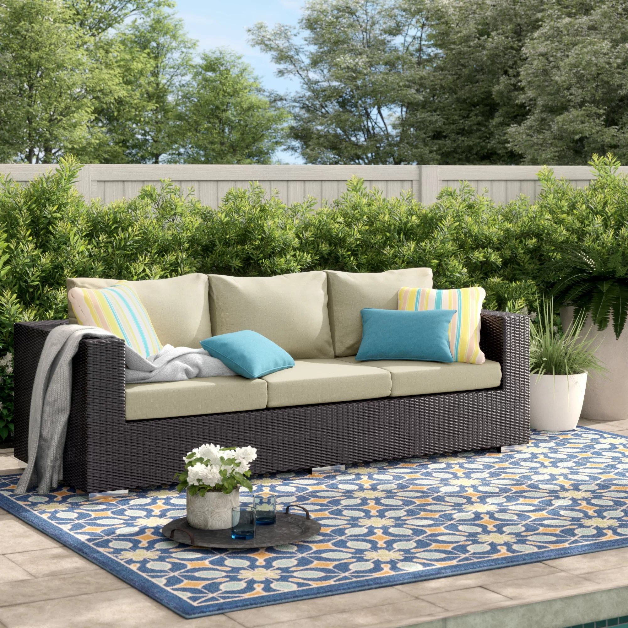 brentwood 88 wide outdoor wicker patio sofa with cushions