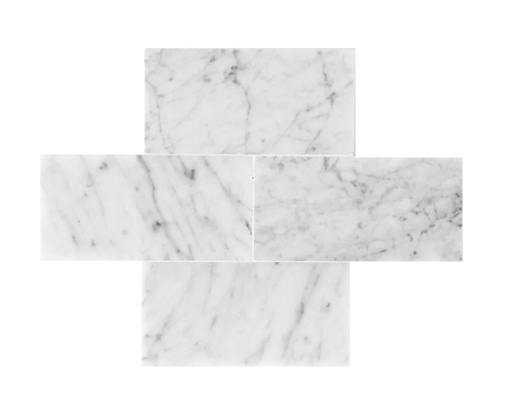 bianco carrara 3 x 6 polished marble tile