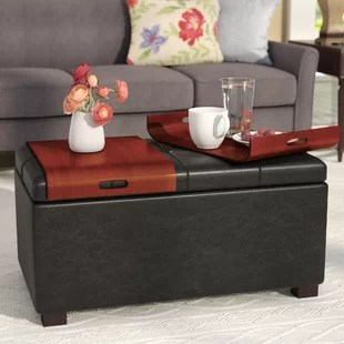 thelonius 34 75 wide faux leather rectangle cocktail ottoman with storage