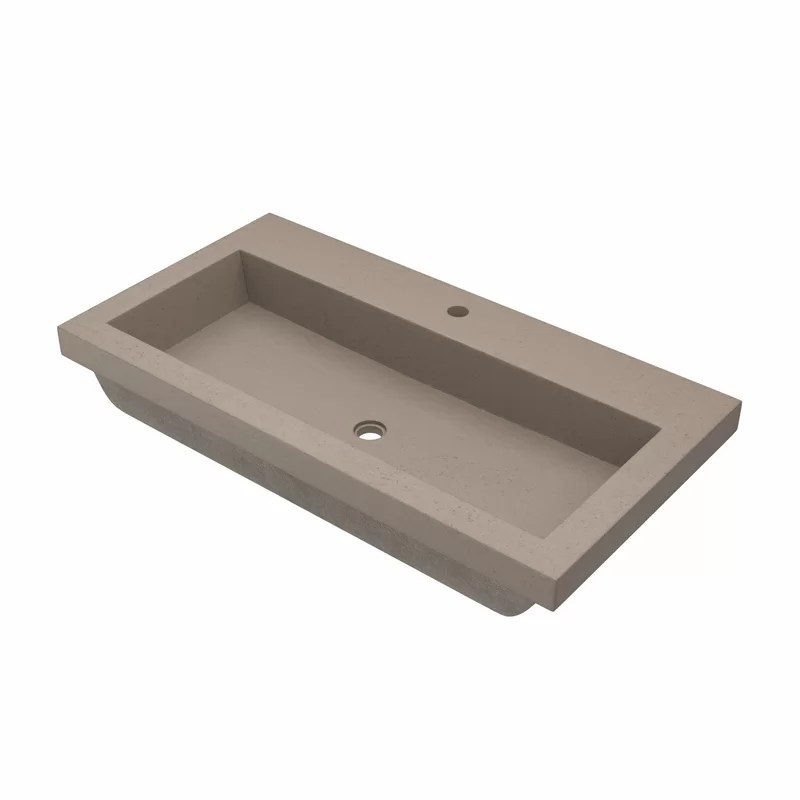trough concrete handmade rectangular bathroom sink