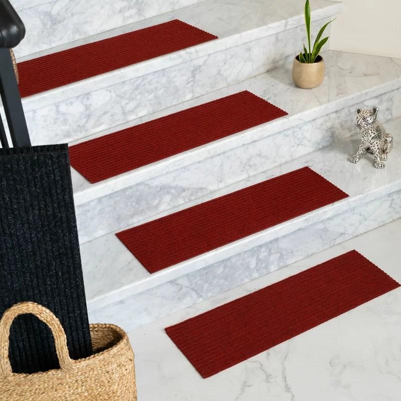 Tucker Murphy™ Pet Bayless Red Stair Tread Reviews Wayfair   Wayfair Stair Tread Rugs   Bullnose Carpet   Tucker Murphy   Slip Backing   Non Slip Stair   Skid Resistant
