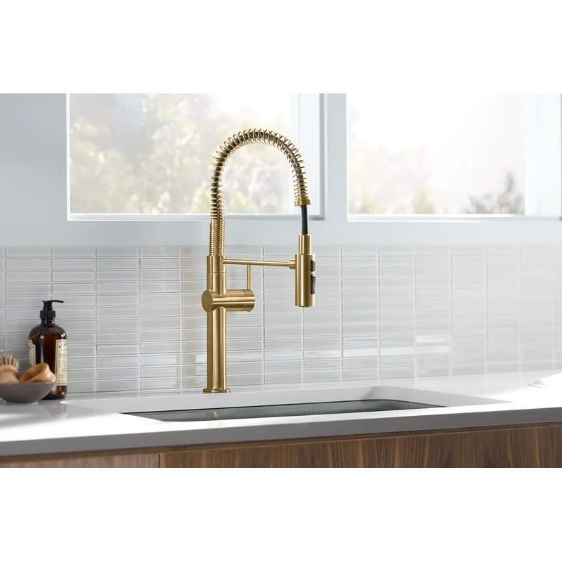 crue pull down single handle semiprofessional kitchen faucet