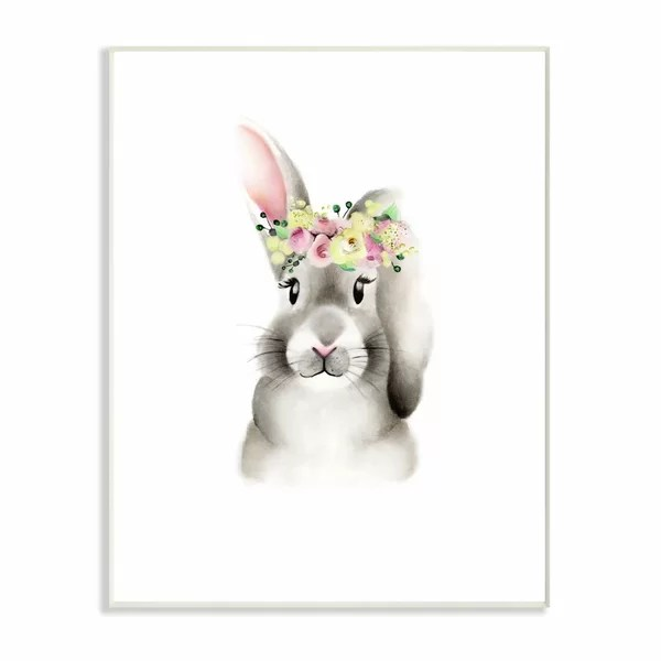 Isabelle Max Seaforth Cute Cartoon Baby Bunny Rabbit Flower Crown Forest Painting Kids Wall Decor Wayfair