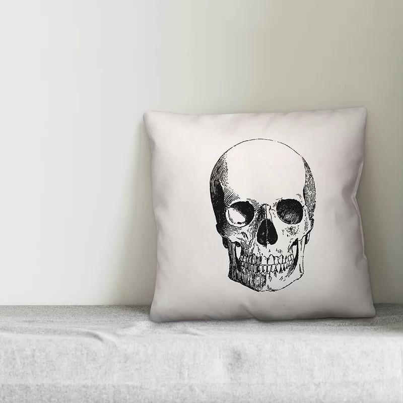 kenda skull throw pillow cover