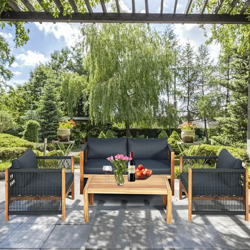 latitude run 4pcs acacia wood outdoor patio furniture set cushioned sofa w nylon rope armrest