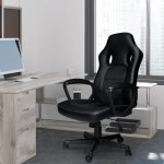 Inbox Zero Leather Office Chairs Ergonomic Computer Desk Chair Comfortable Executive Office Chair Chairs For Office Desks 360 Swivel Thick Padded Adjustable Black