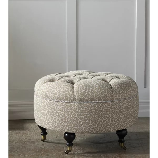 rayland 31 tufted round animal print cocktail ottoman