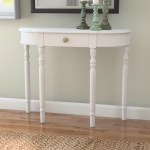 Entryway Console Table With Shelf Storage Color White Modern Minimalist Semi Circular Hall Wall Table Accent Tables For Small Spaces Frenchi Home Furnishing End Table Side Table
