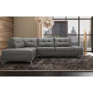 mercier 111 wide genuine leather sofa chaise