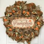 The Holiday Aisle Autumn Leaves Pumpkins Please Harvest Handmade 24 Deco Mesh Wreath Wayfair