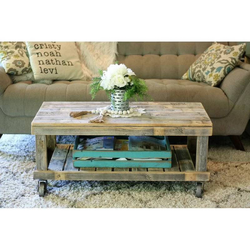 leos solid wood coffee table with storage