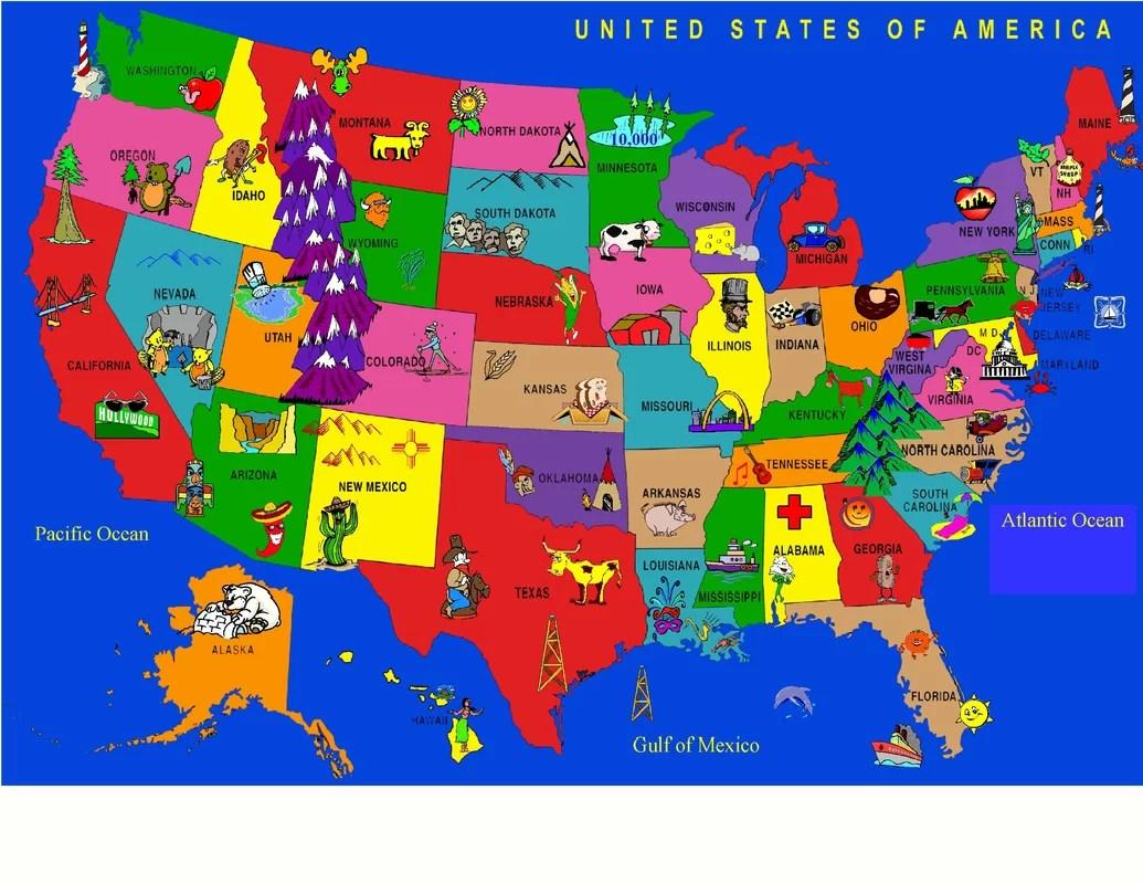 Kids World Fun Learning Usa Cartoon Map Area Rug Amp Reviews