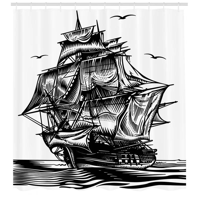pirate ship shower curtain set hooks