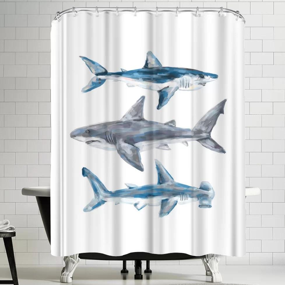 printables painted shark trio 1 single shower curtain