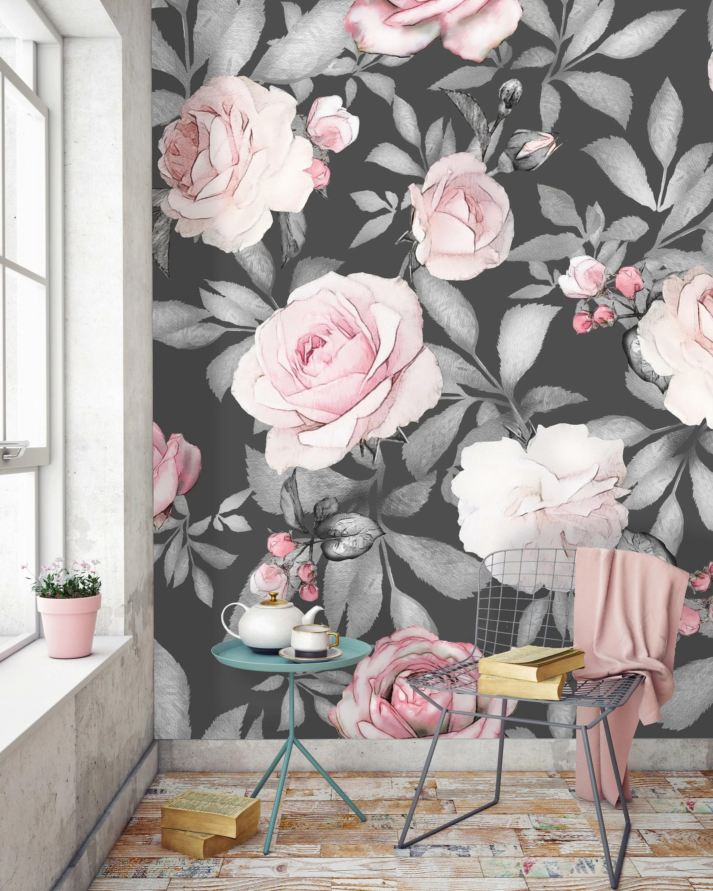 Bungalow Rose Mccall Removable Watercolor Seamless Flowers 10 L X 120 W Peel And Stick Wallpaper Roll Reviews Wayfair