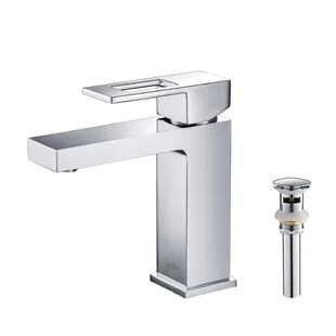 cubic single hole bathroom faucet with optional drain assembly
