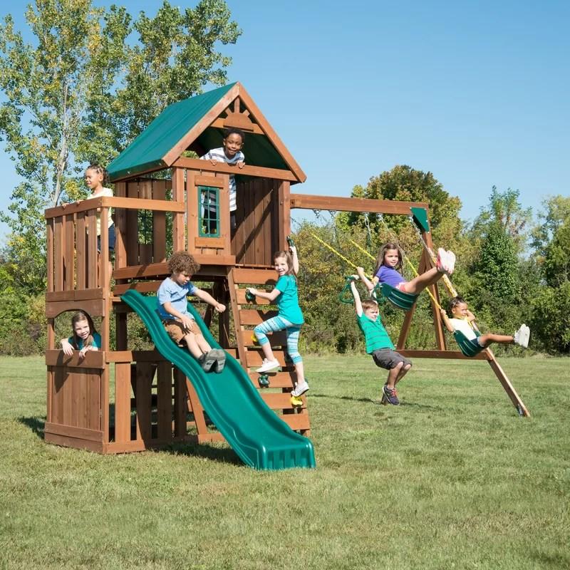 elkhorn wooden play swing set