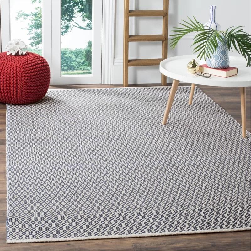jodi geometric handmade flatweave cotton ivory navy area rug
