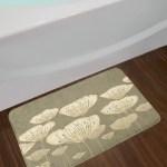 Pastel Taupe Floral Bath Rug
