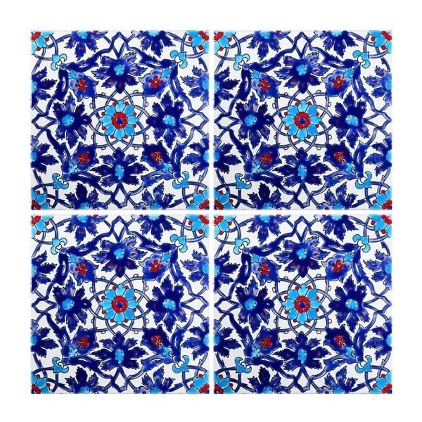 mediterranean 8 x 8 ceramic decorative tile in blue