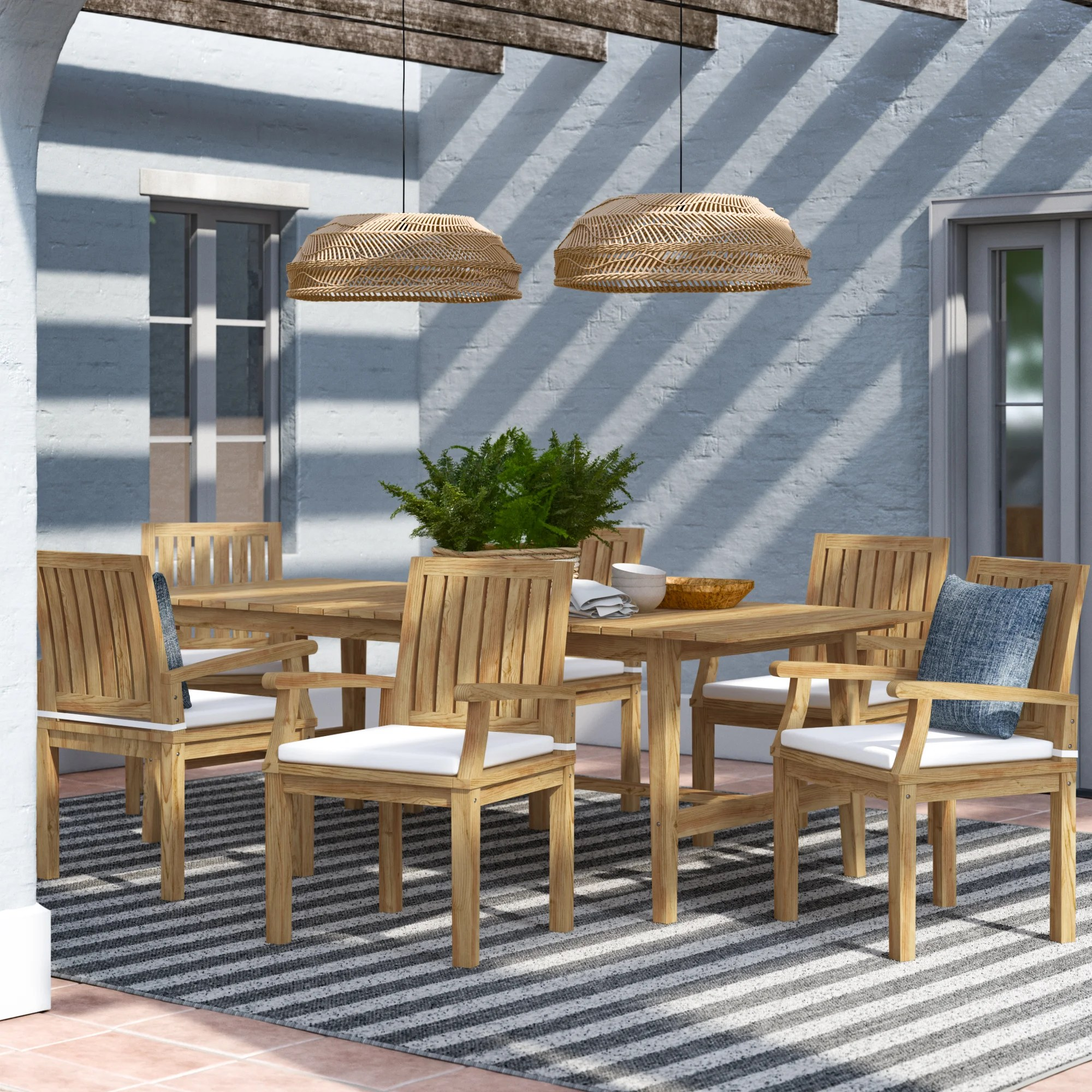 sidney outdoor patio 7 piece teak dining set with cushions