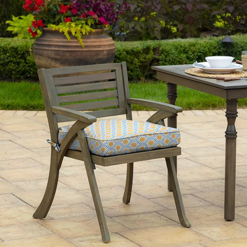 honeycomb outdoor welted dining chair cushion