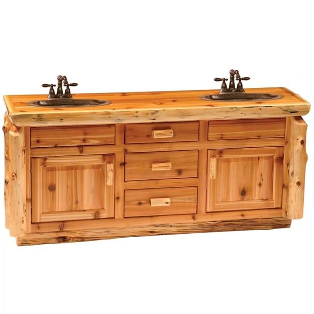 "fireside lodge traditional cedar log 72"" bathroom vanity base | wayfair"