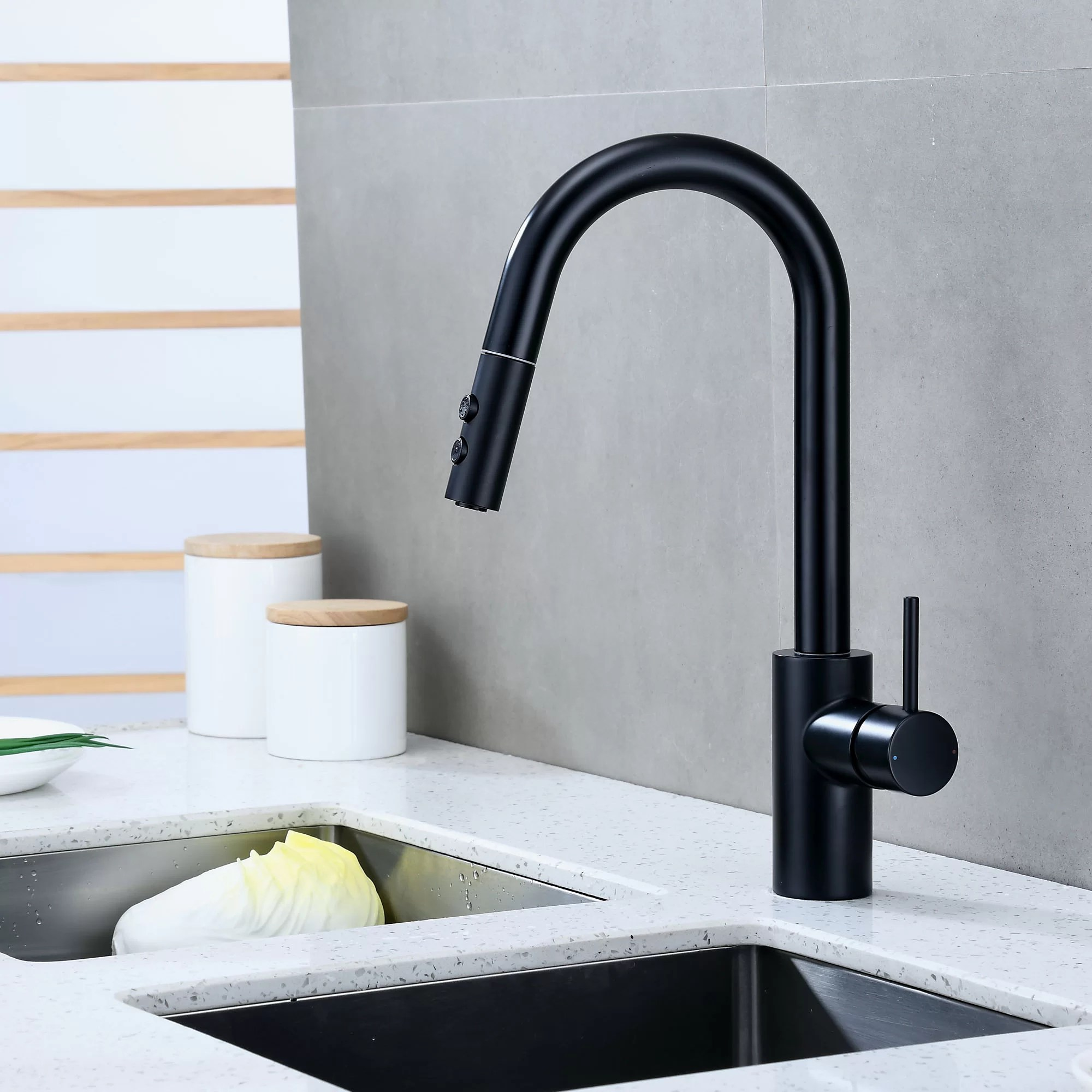 contemporary pull down single handle kitchen faucet
