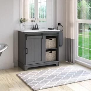 trogdon sliding barn door 36 single bathroom vanity set