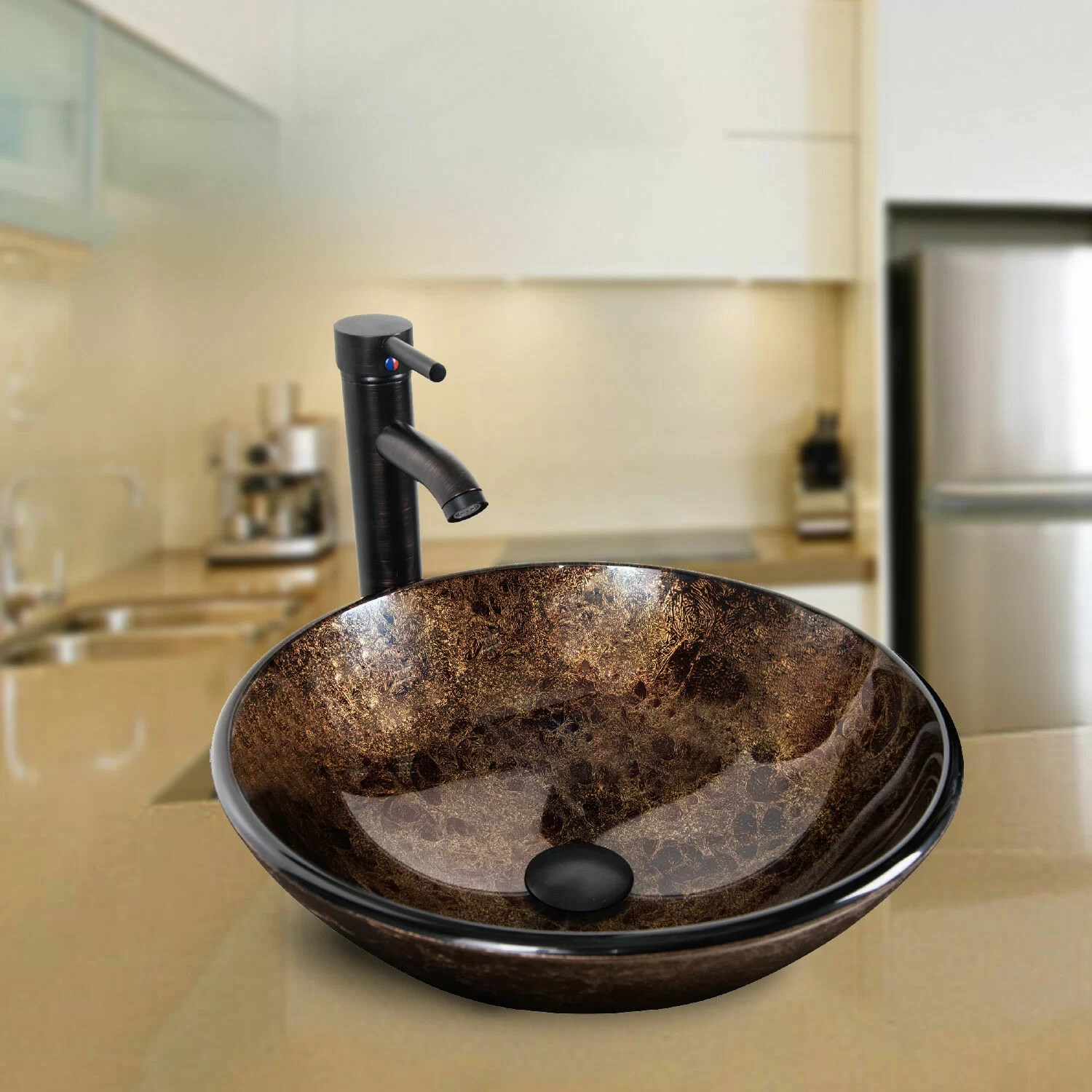 tempered glass circular vessel bathroom sink with faucet