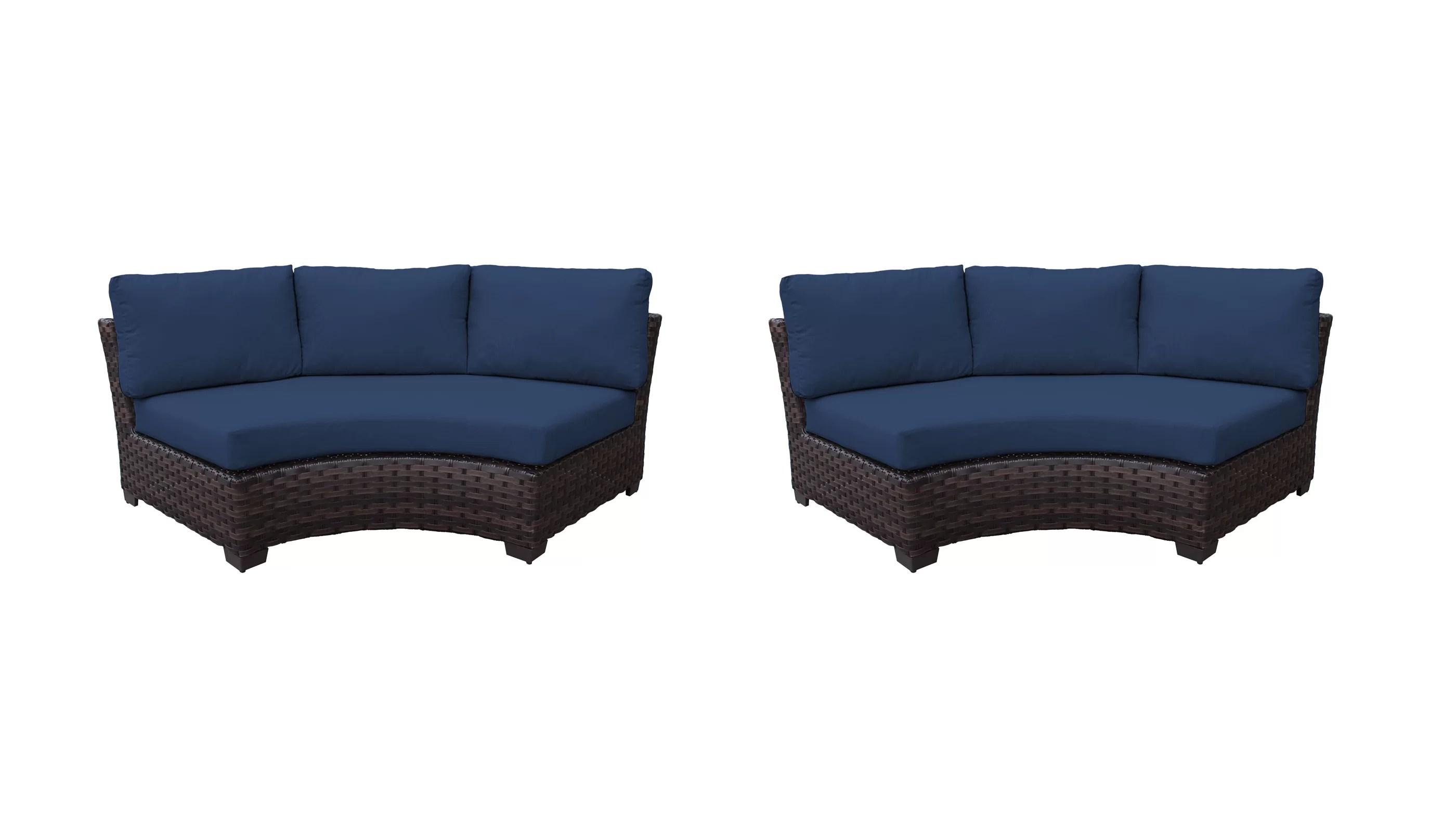 kathy ireland homes gardens river brook curved armless sofa 2 per box patio chair