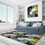 East Urban Home Abstract Polyester Gray Yellow Black Area Rug