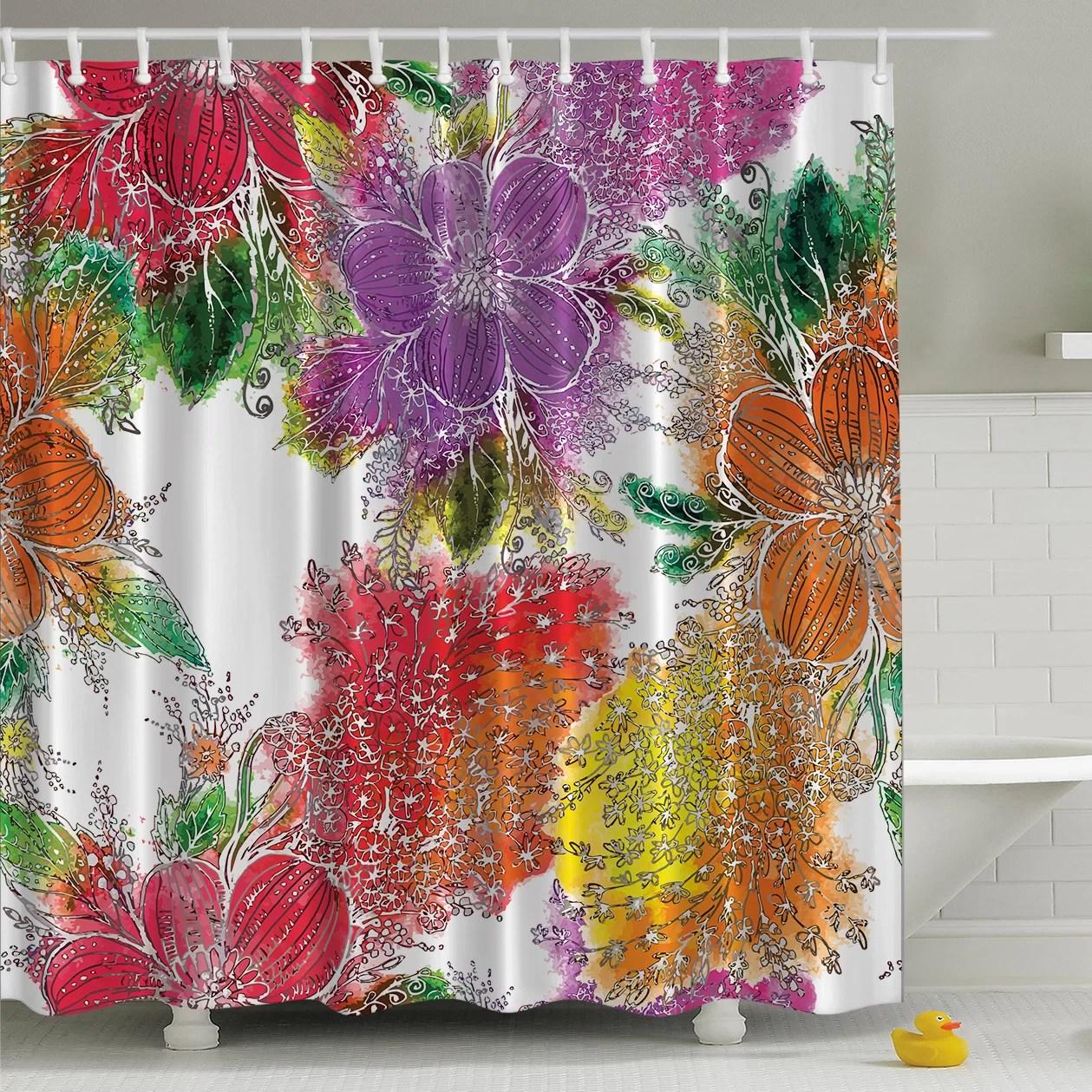 bold flowers print single shower curtain