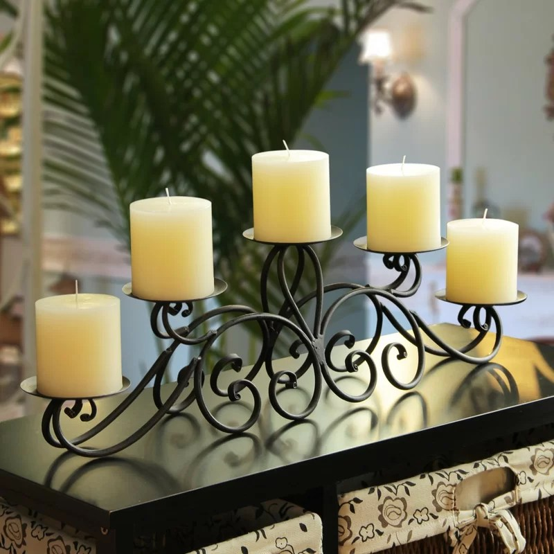 Wrought Iron Candle Holder Centerpiece