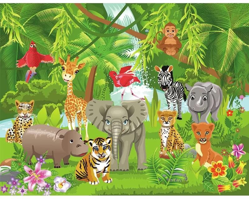 Zoomie Kids 5 Piece Friedlander Kids Jungle Animals 18 45m X 50cm Semi Gloss Mural Wayfair Co Uk