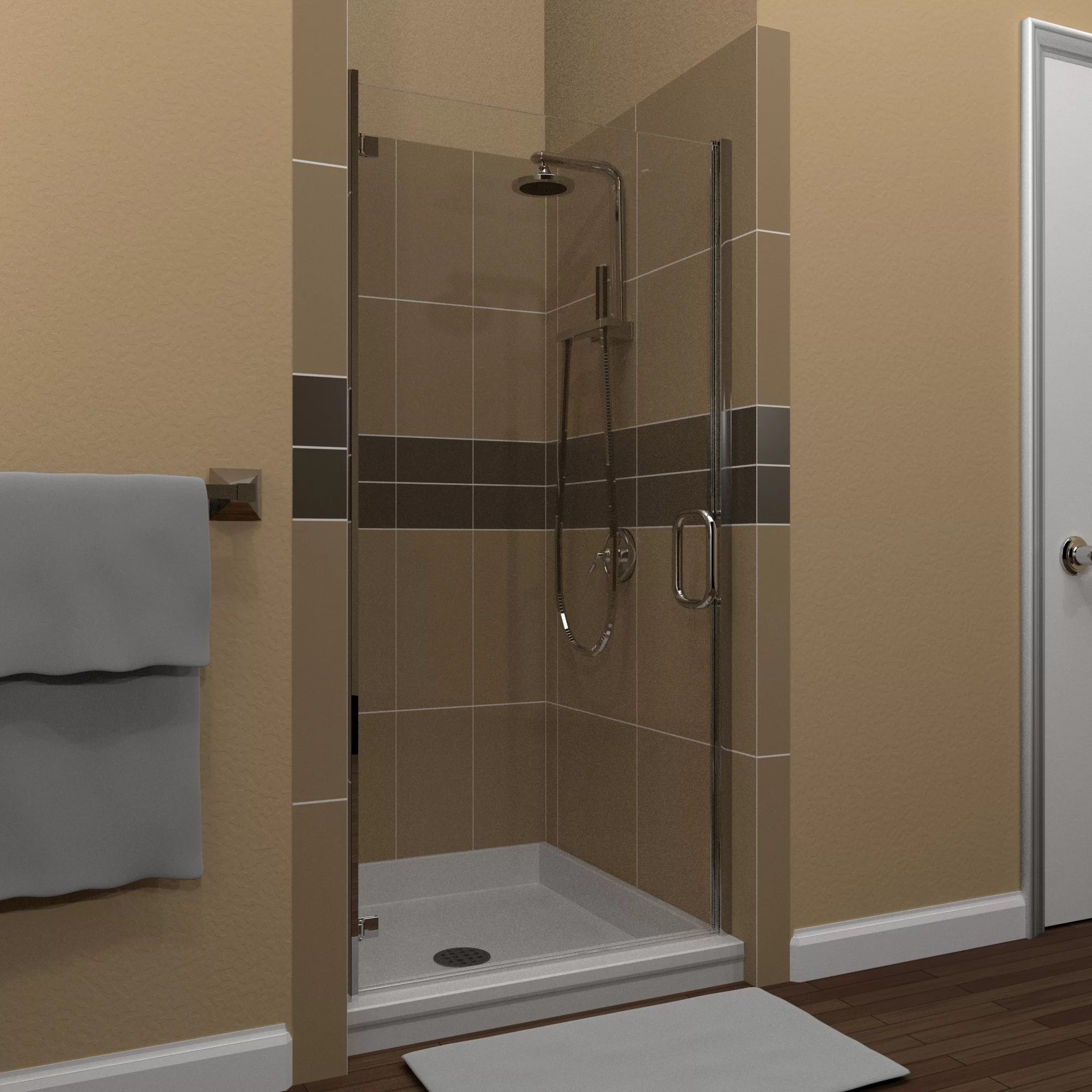Mp Swinging 25 X 73 Hinged Semi Frameless Shower Door