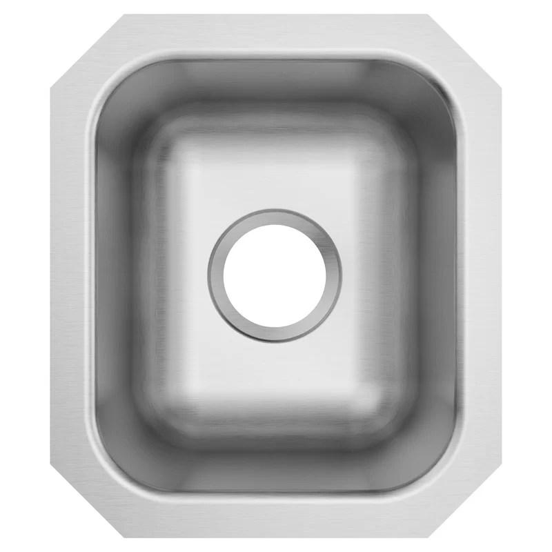 1800 series 14 5 l x 12 5 w undermount single bowl stainless steel bar sink