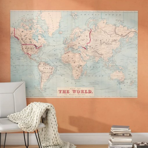 Mercury Row Gilbertson Map of The World Wall Mural   Reviews   Wayfair Gilbertson Map of The World Wall Mural