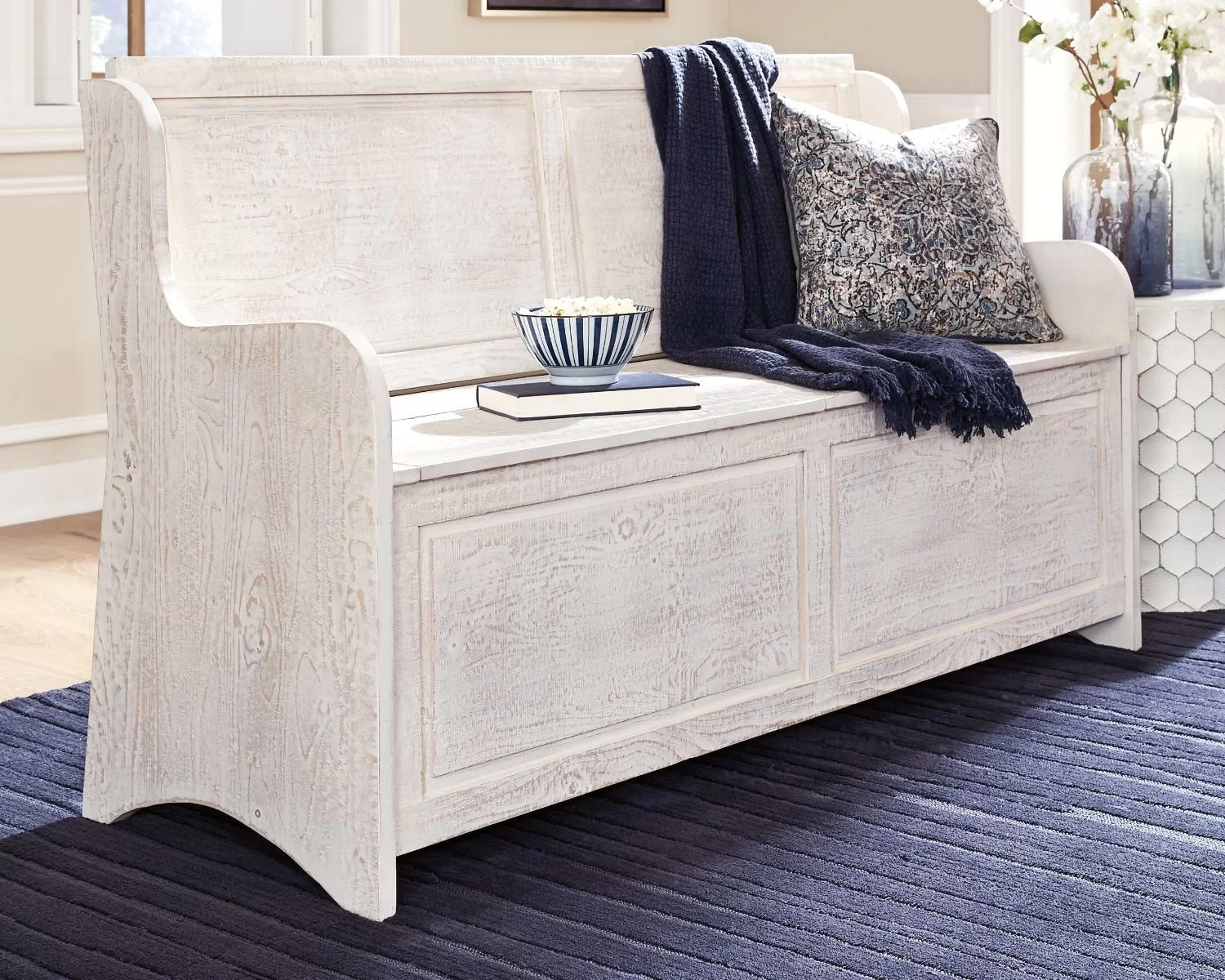 Roundhill furniture quality solid wood shoe bench with storage, white. whitmire solid wood flip top storage bench