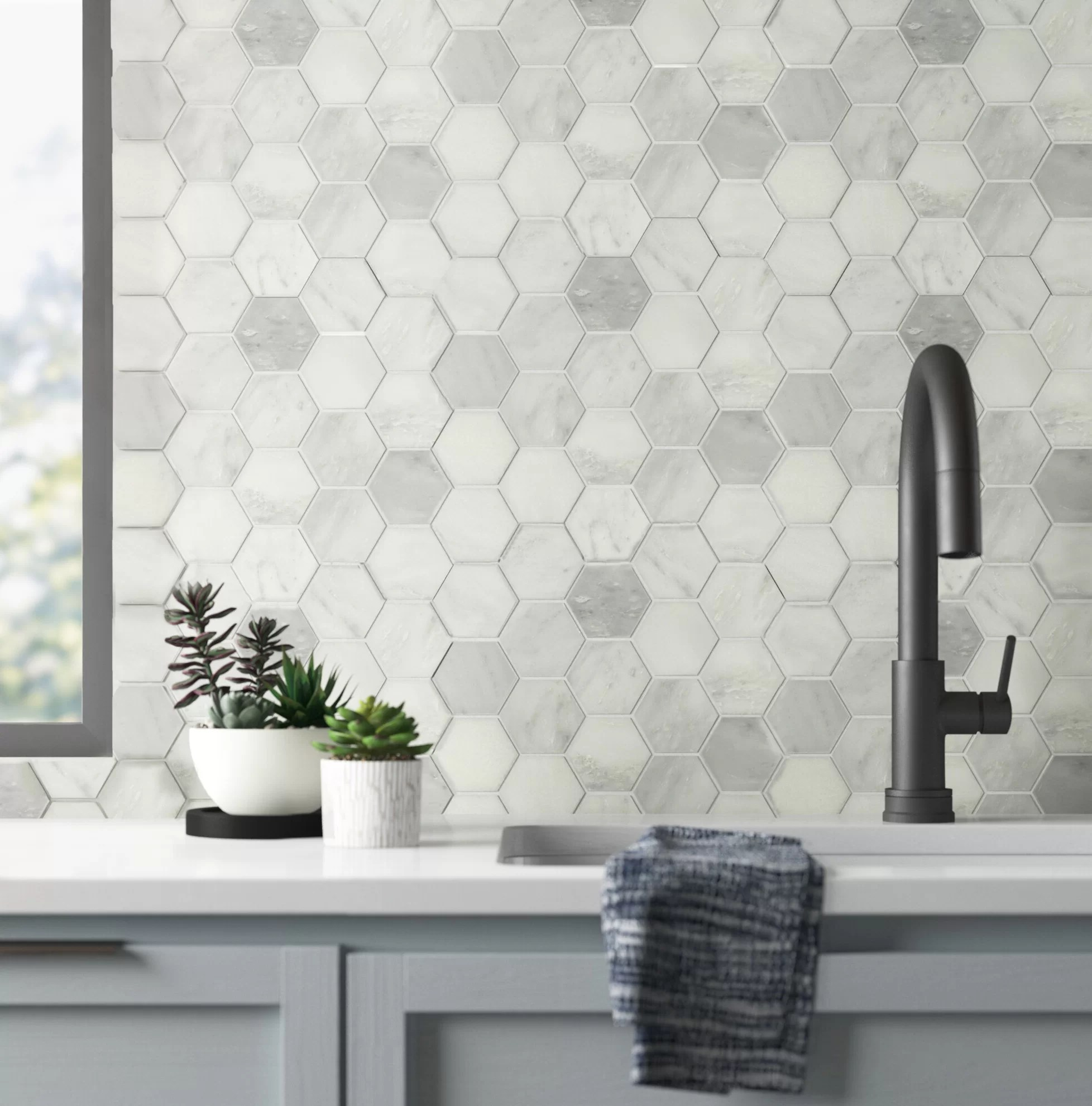belmont 3 x 3 marble mosaic tile