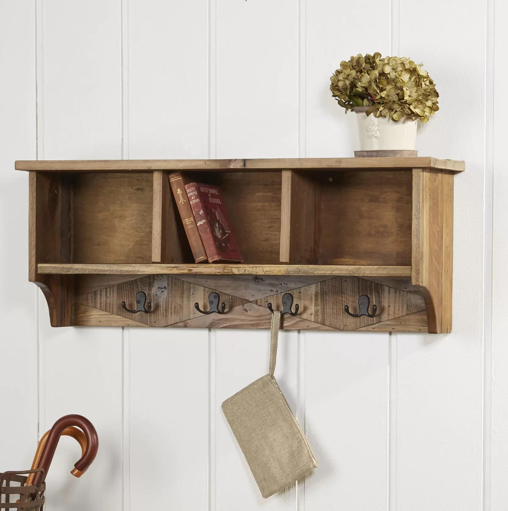 faucett natural wood wall mounted coat rack