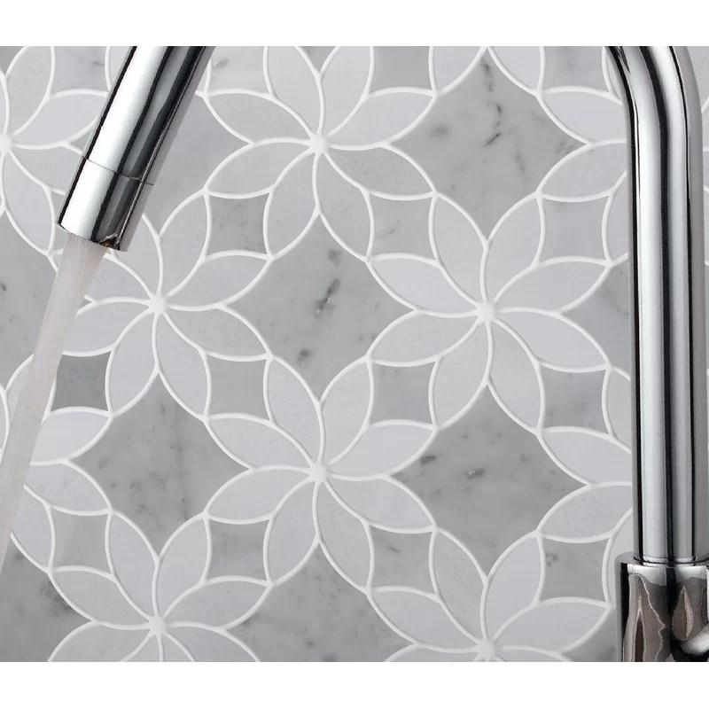 ice flower 3 x 3 marble mosaic tile