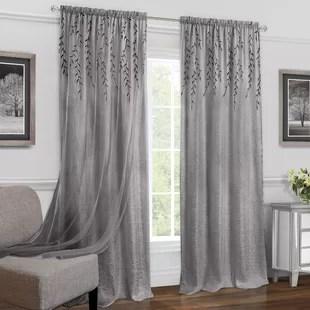 hadlee solid semi sheer rod pocket single curtain panel