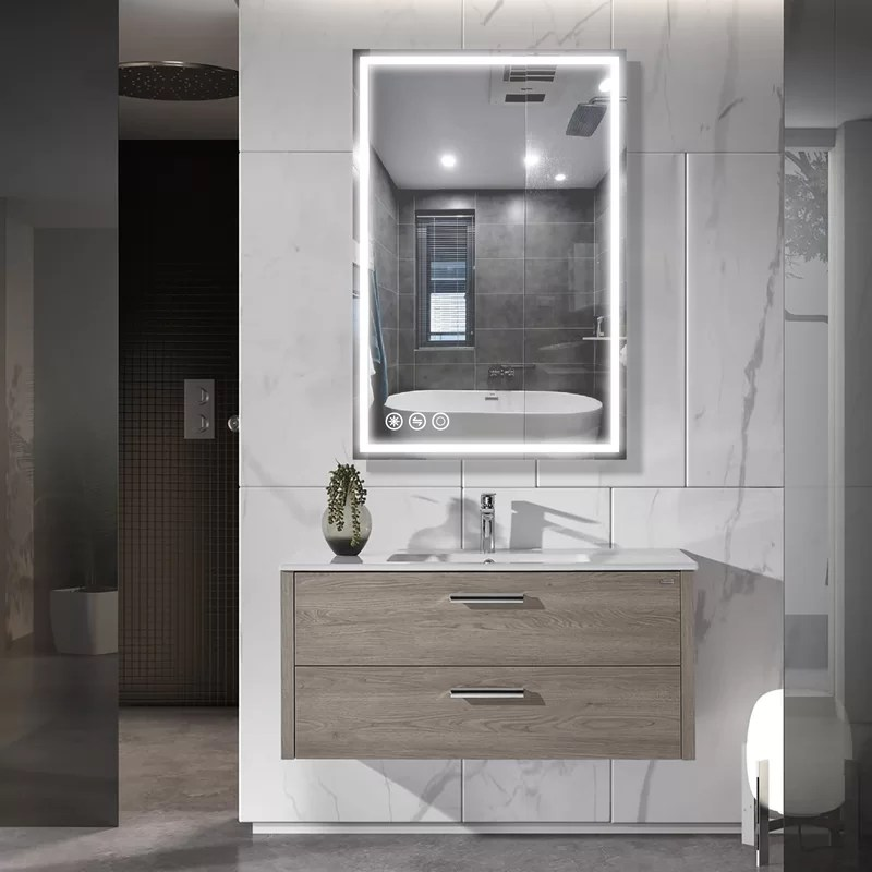 Orren Ellis Ghyslaine Modern Beveled Lighted Bathroom ...