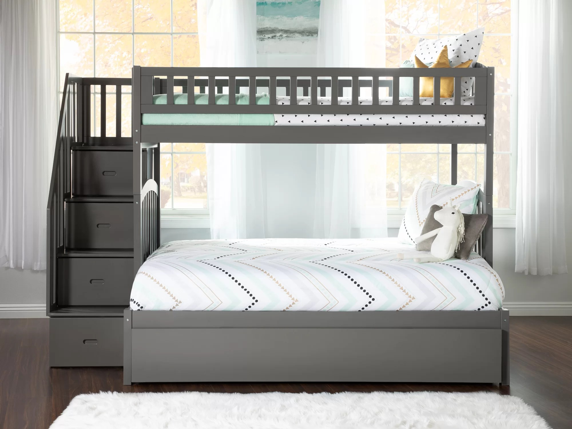 Harriet Bee Salem Staircase Twin Over Full Bunk Bed With Shelves Reviews