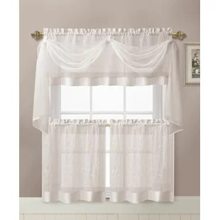 kenmore linen leaf semi sheer embroidered kitchen curtain