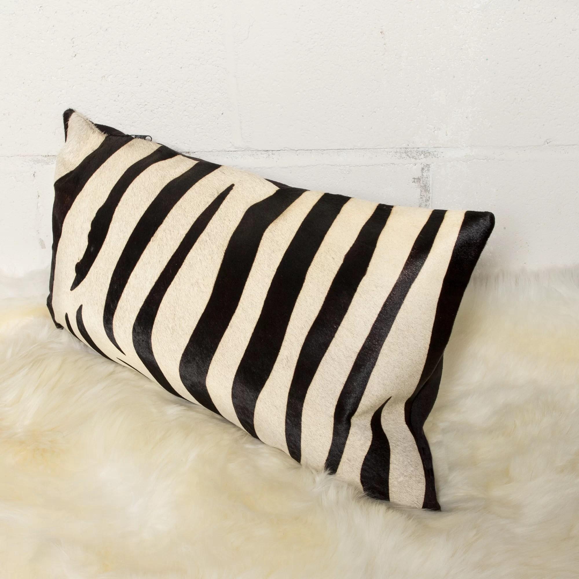 graham zebra leather lumbar pillow