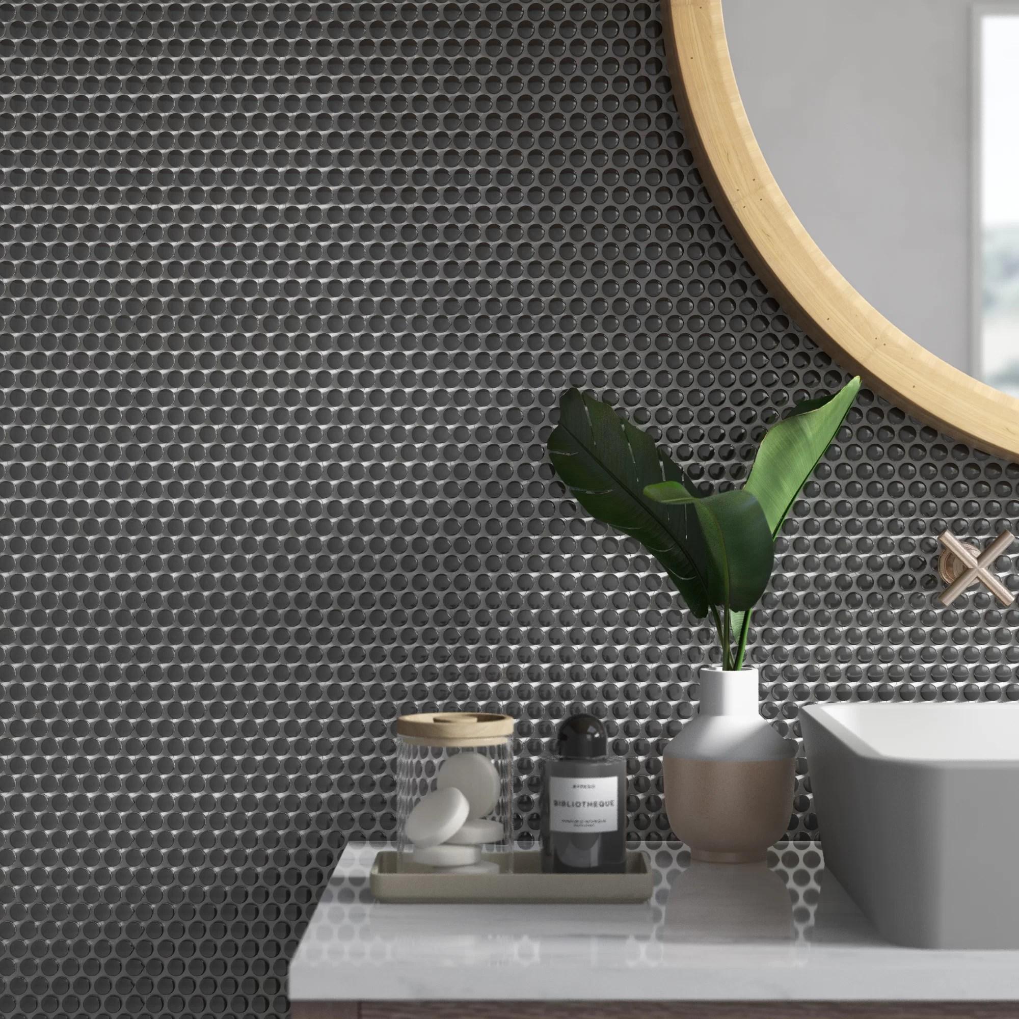 cleveland 1 x 1 porcelain mosaic tile in matte black