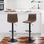 17 Stories Swivel Bar Stools Set Of 2 For Kitchen Counter Adjustable Counter Height Bar Chairs With Back Tall Barstools Pu Leather Kitchen Island Stools