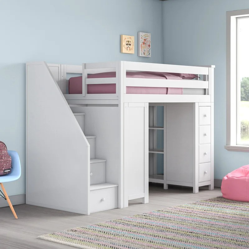 Deshotel Twin Loft Bed with Drawers and Shelves